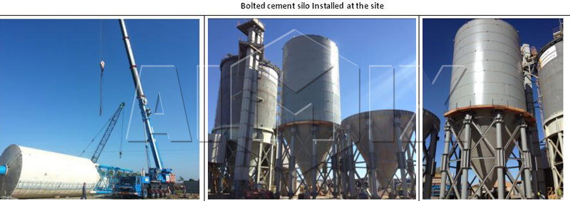 bolted cement silo installed on site